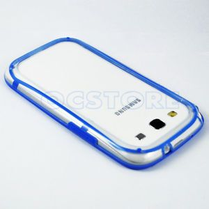 Blue Clear Bumper Soft TPU Gel Case Cover for Samsung Galaxy s 3 III S3 I9300