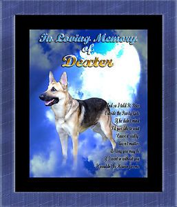 Pet Memorial German Shepherd Personalized w Your Dog's Name Heaven Portrait Poem
