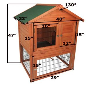 New Deluxe Wooden Rabbit House Wood Rabbit Hutch Chicken Coop Box Hen Cage