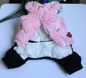Pink Black Pet Dog Jumpsuit Coat Jacket Clothes Apparel Clothing Costume