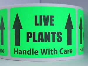 Live Plants Handle with Care Warning Stickers Labels