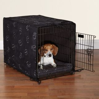 Brown ProSelect Paw Print 2 Piece Dog Cat Crate Cover Crateware Bed Set 3 Sizes