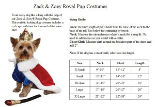 Halloween Dog Costume Royal Pup King Prince Dog Pet Puppy Costume Choose Size