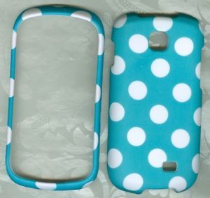 L Blue White Dot Rubberized Samsung Galaxy Appeal i827 SGH i827 Phone Cover Case