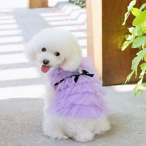 Purple Layered Mesh Bowtie Dress Skirt Pet Dog Costume Party Wedding Clothes S