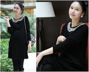 Fashion Maternity Casual Dresses Beaded Pregnant Mini Dress Long Sleeve Black S