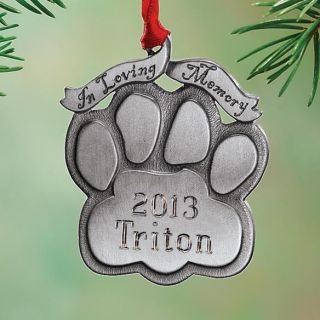 Personalized Pet Memorial Ornament Dog or Cat Paw Print Christmas Tree Decor New