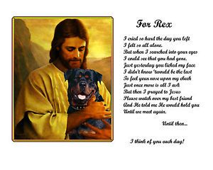 Pet Memorial Rottweiler Personalized w Dog's Name 6styles w Jesus Rainbow Bridge