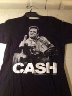 Gently Worn Johnny Cash Tshirt T Shirt Tee Black Middle Finger Band Rock Medium