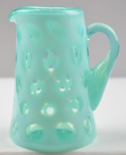 Vintage Fenton Art Glass Blue Opalescent Coin Dot Creamer Pitcher Collectible