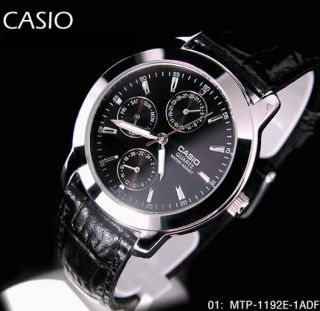 100 Genuine Latest Casio MTP 1192E 1A Day Date Analog Dress Leather Mens Watch