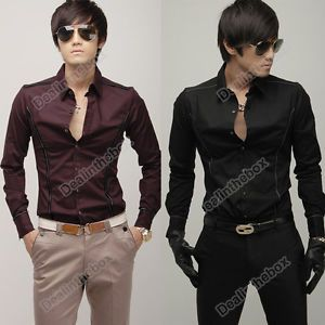2012 Fashion Stylish Men Casual Slim Fit Dress Shirts 2 Color Asian M L XL Good