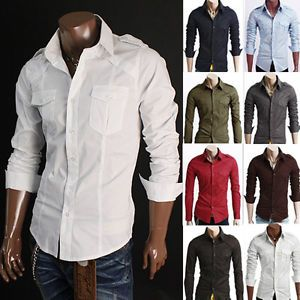 New Mens Slim Fit Double Pockets Design Casual Long Sleeve Dress Shirts 8Colors