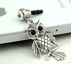Korean Chic Night Owl Bird Crystal Cell Phone Headset Dust Plug for iPhone 4S