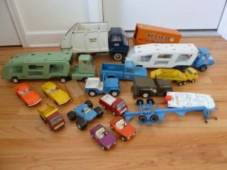 Huge Lot of Vintage Metal Tonka Trucks Car Hauler Trailers Jeeps Sanitation More