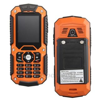 Orange Waterproof IP67 Shockproof Dustproof Dual Sim Quadband Cell Phone