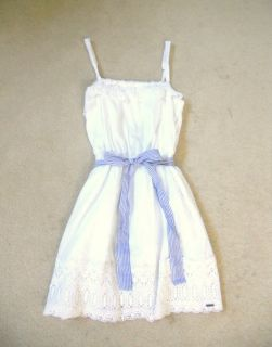 Hollister Abercrombie White Lace Polka Dot Dress with Blue Bow Belt XSmall