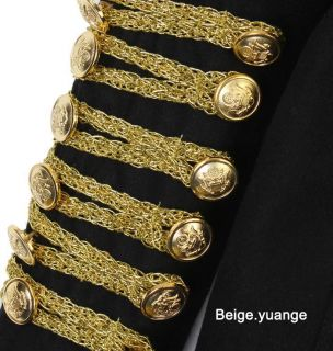 Runway Black w Gold Silver Chain Power Shoulder Wool Blend Military Jacket Multi