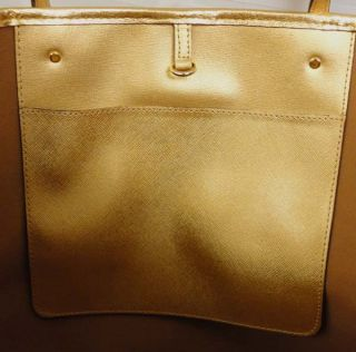 Michael Kors Jet Set Large MD Travel Tote Gold Tone Leather MSRP$278 00