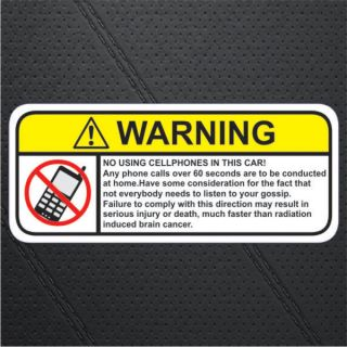 No Mobile Cell Phone in Car Warning Sticker Decal Sign