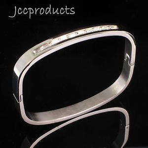 Women Men Silver Stainless Steel Clear Square CZ Polished Bangle Cuff Bracelet