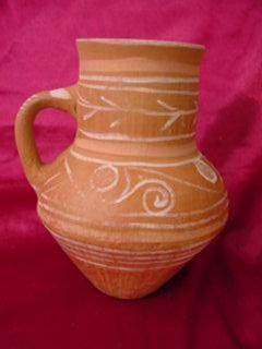 Antique Mexican Clay Pottery Vase Pitcher Art Pottery