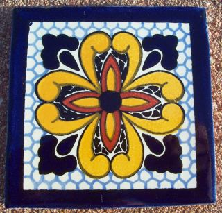 "6 Mexican Talavera Pottery 4"" Tile Hand Painted Wall Folk Art Venice Italy CD"