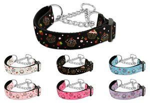 Dog Pet Puppy Cupcakes Martingale Choker Nylon Collar Limited Slip Safety Leash