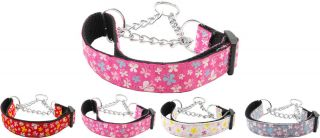 Butterfly Nylon Martingale Chain Limited Slip Loop Pet Dog Collar