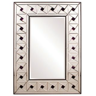 Armand Wall Frosted Mirror on Mirror Amethyst Glass Accents Large 53""