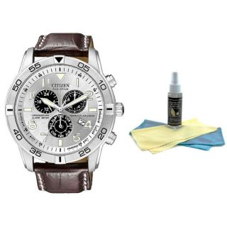 Citizen BL5470 06A Men's Brown Strap Chrono Watch with 30ml Watch Cleaning Kit