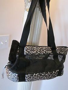 New Leopard Plush Faux Fur Toy Dog Carrier with Attached Small Leash
