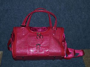 Pink Purse Faux Crocodile Leather Travel Carrier Bag Small Cat or Dog