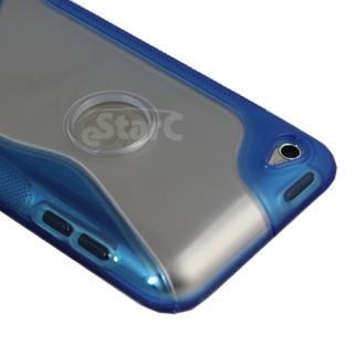 Clear Blue TPU s Line Hard Skin Case Cover for Apple iPod Touch 4th Gen 4G 4