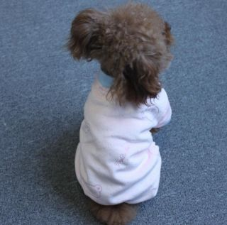 Blue Pink Fleece Pet Winter Coat Clothes Jumpsuit Cute Small Dog Apparel Pajamas