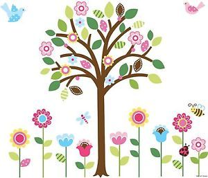 Giant Flowers Garden Wall Sticker Decals Tree Birdies 4 Girls Kids Classroom
