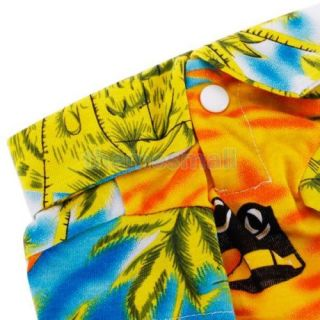Pet Dog Hawaiian Beach Style Coconut Tree Pattern Camp Shirt Clothes Apparel L