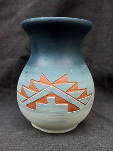 Vintage Signed SPRC Sioux Red Clay Native American Black Hills s D Pottery Vase