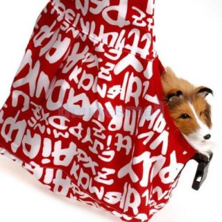 Pet Cat Dog Sling Carrier Oxford Cloth Single Shoulder Bag Tote Red White M