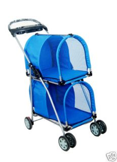 New Blue Double Deck Pet Dog Cat Stroller Carrier S8014