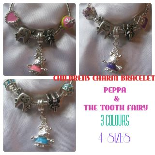 Childrens Kids Girls Charm Bracelet Peppa Pig Tooth Fairy Gift Bag Pink Blue UK