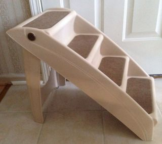 Solvit Pup Step Pet Stairs Cat Dog Ramp Steps 4 Carpeted Steps Lightweight