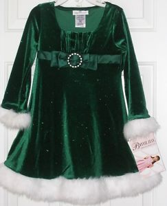 Bonnie Jean New Girls Green Christmas Dress Size 5 Fur Clothes Holiday Party