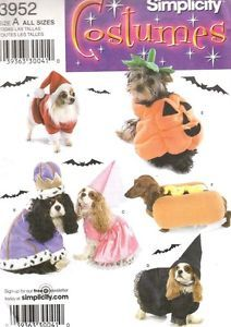Simplicity Sewing Pattern 3952 Costumes Small Dogs Pumpkin Santa Hot Dog Royalty
