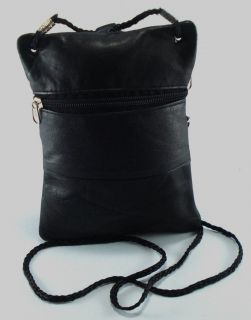 Just Leather Mini Unisex Sling Messenger Travel Purse Black Cross Body Bag B3
