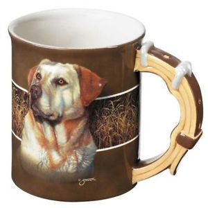 New Sculpted Yellow Lab Labrador Dog 16 oz Coffee Mug Collar Handle