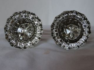 2 Antique Clear Glass Crystal 12 Sided Fluted Door Knobs Brass Fitting