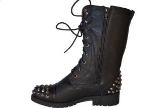 Black Women's Studded Spike Lace Up Mid Calf Military Combat Boots Size 5 5 10