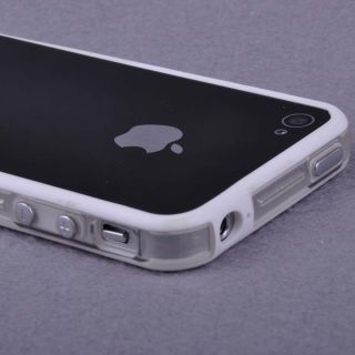 White Clear Bumper Frame TPU Silicone Case Skin for iPhone 4S 4G w Side Button