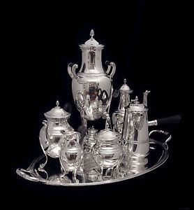 Puiforcat Antique Sterling Silver Tea Coffee Set with Sterling Silver Tray